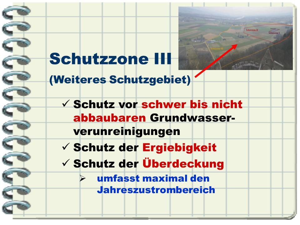 Schutzzone III Schutz vor schwer bis nicht abbaubaren Grundwasser- verunreinigungen Schutz der Ergiebigkeit Schutz der Überdeckung umfasst maximal den