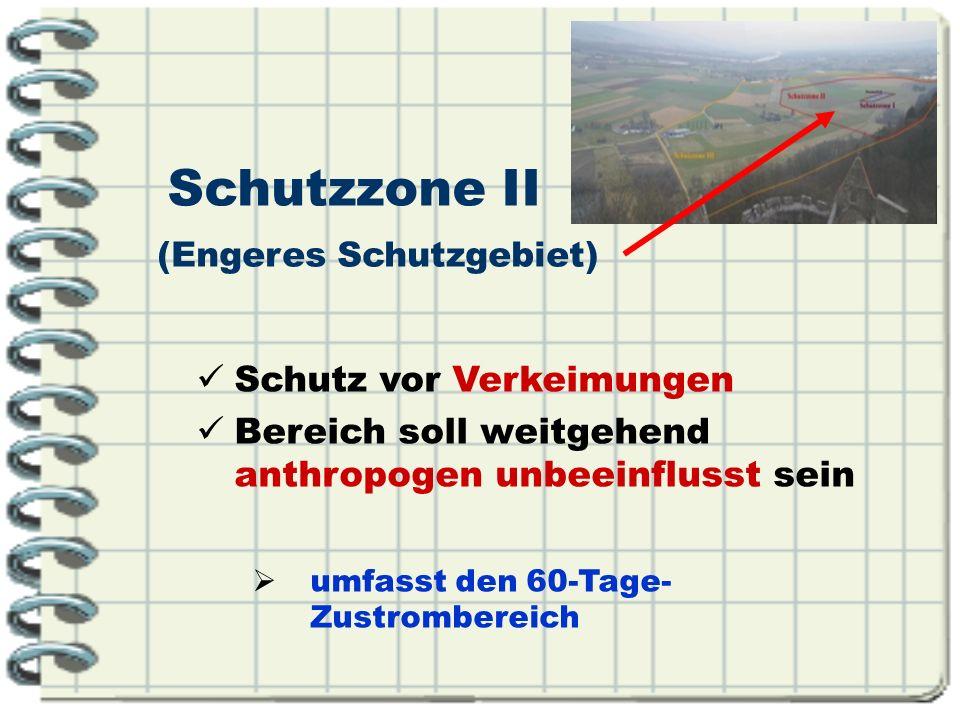 Schutz vor Verkeimungen Bereich soll weitgehend anthropogen unbeeinflusst sein umfasst den 60-Tage- Zustrombereich Schutzzone II (Engeres Schutzgebiet