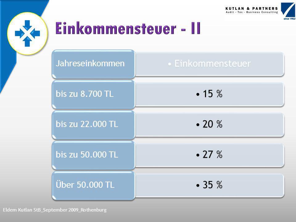 Einkommensteuer Jahreseinkommen 15 % bis zu 8.700 TL 20 % bis zu 22.000 TL 27 % bis zu 50.000 TL 35 % Über 50.000 TL Eldem Kutlan StB_September 2009_Rothenburg