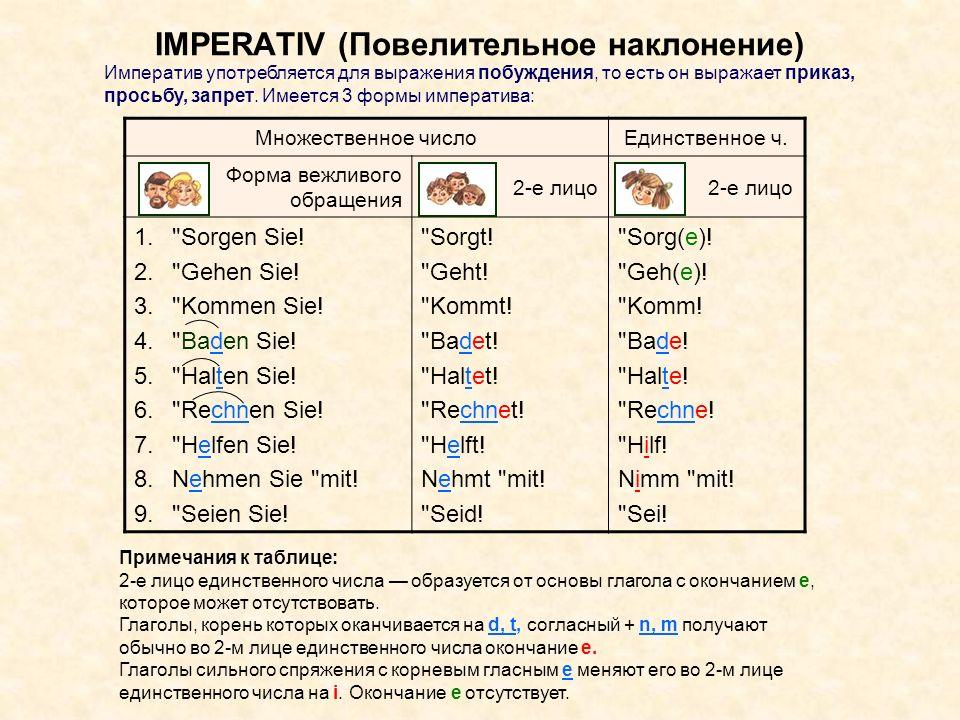 IMPERATIV (Повелительное наклонение) Множественное числоЕдинственное ч. Форма вежливого обращения 2-е лицо 1.