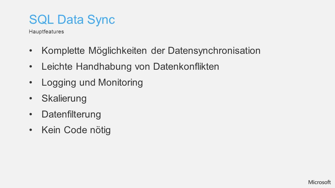 Komplette Möglichkeiten der Datensynchronisation Leichte Handhabung von Datenkonflikten Logging und Monitoring Skalierung Datenfilterung Kein Code nötig Hauptfeatures SQL Data Sync