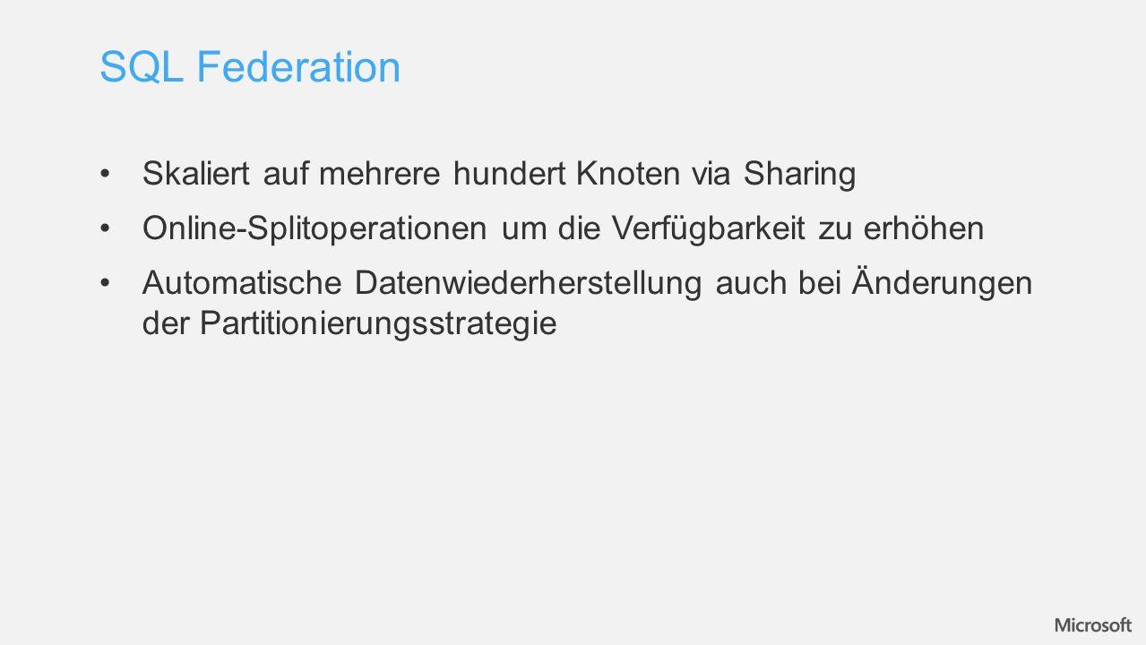 Skaliert auf mehrere hundert Knoten via Sharing Online-Splitoperationen um die Verfügbarkeit zu erhöhen Automatische Datenwiederherstellung auch bei Änderungen der Partitionierungsstrategie SQL Federation