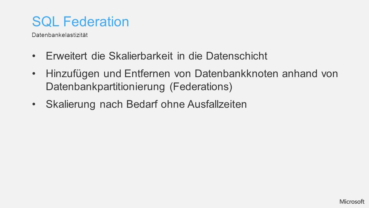 Erweitert die Skalierbarkeit in die Datenschicht Hinzufügen und Entfernen von Datenbankknoten anhand von Datenbankpartitionierung (Federations) Skalierung nach Bedarf ohne Ausfallzeiten Datenbankelastizität SQL Federation