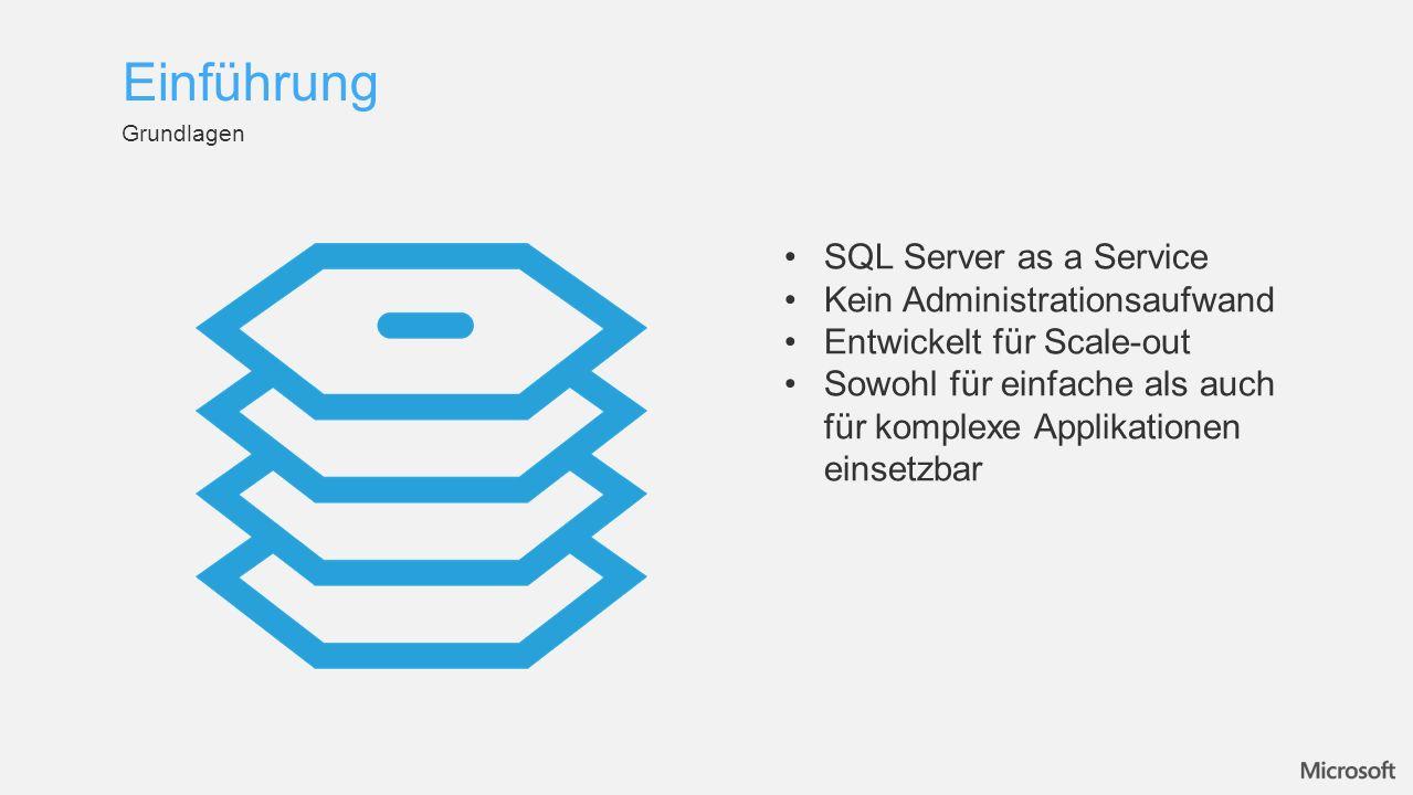 Grundlagen Einführung SQL Server as a Service Kein Administrationsaufwand Entwickelt für Scale-out Sowohl für einfache als auch für komplexe Applikationen einsetzbar