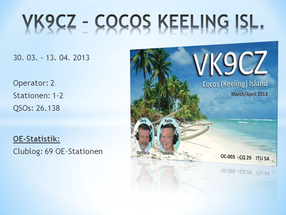 30. 03. – 13. 04. 2013 Operator: 2 Stationen: 1-2 QSOs: 26.138 OE-Statistik: Clublog: 69 OE-Stationen
