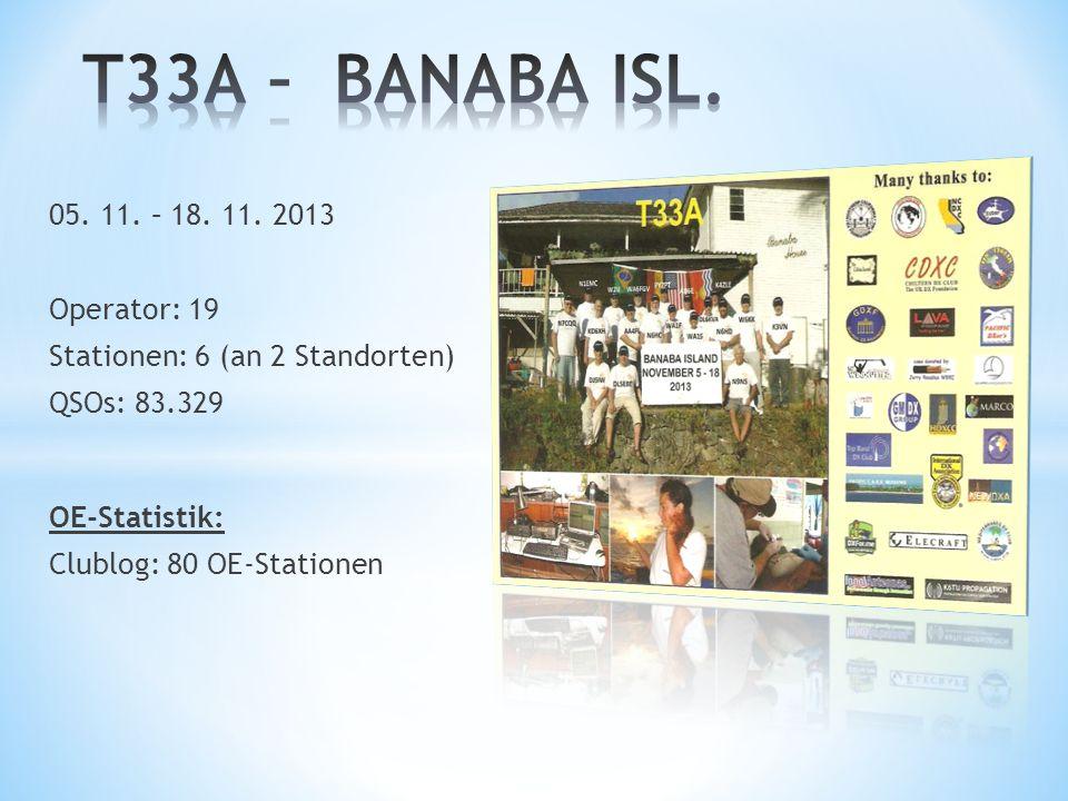 05. 11. – 18. 11. 2013 Operator: 19 Stationen: 6 (an 2 Standorten) QSOs: 83.329 OE-Statistik: Clublog: 80 OE-Stationen