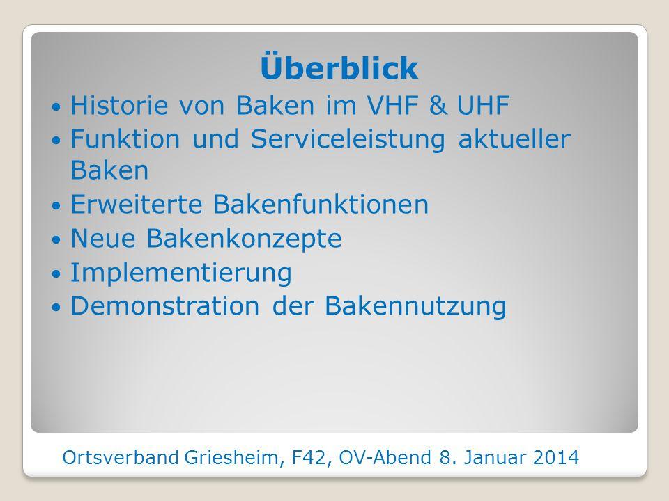 Modernes Bakenkonzept für den VHF und UHF Bereich Rolf Maarschalkerweerd DK7FU F42 Ortsverband Griesheim, F42, OV-Abend 8. Januar 2014