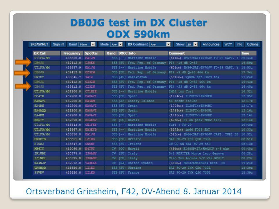 DB0JG Empfang über 480km bei DJ8ES Ortsverband Griesheim, F42, OV-Abend 8. Januar 2014