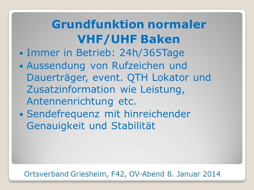 Grundfunktion normaler VHF/UHF Baken Immer in Betrieb: 24h/365Tage Aussendung von Rufzeichen und Dauerträger, event.