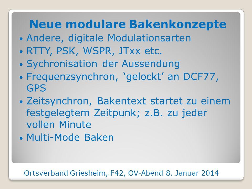 Aufnahmen aktueller Baken Ortsverband Griesheim, F42, OV-Abend 8. Januar 2014 DB0MMO, 432 MHz, 72km DB0LB, 432 MHz, 115km