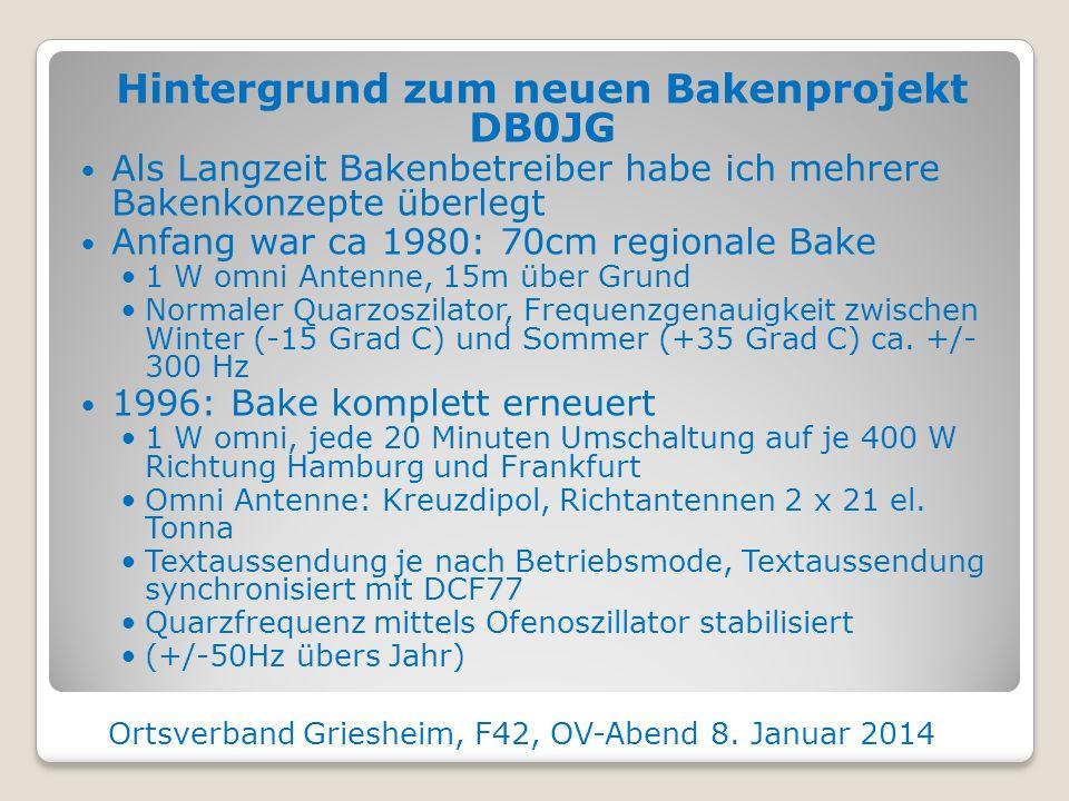 Hintergrund zum neuen Bakenprojekt DB0JG Als Langzeit Bakenbetreiber habe ich mehrere Bakenkonzepte überlegt Anfang war ca 1980: 70cm regionale Bake 1 W omni Antenne, 15m über Grund Normaler Quarzoszilator, Frequenzgenauigkeit zwischen Winter (-15 Grad C) und Sommer (+35 Grad C) ca.