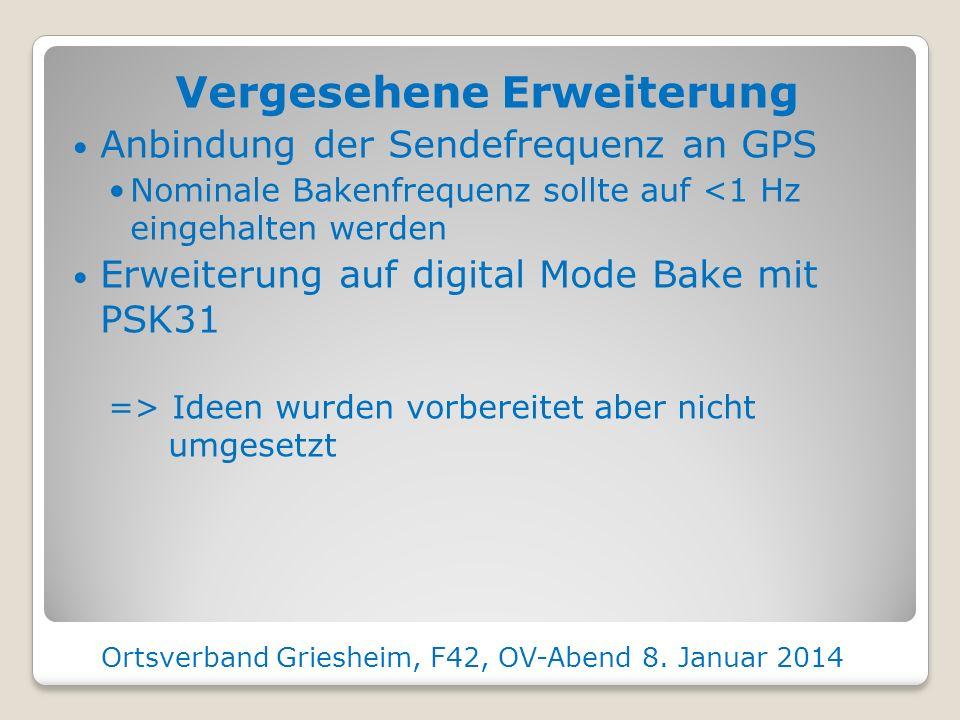 Vergesehene Erweiterung Anbindung der Sendefrequenz an GPS Nominale Bakenfrequenz sollte auf <1 Hz eingehalten werden Erweiterung auf digital Mode Bake mit PSK31 => Ideen wurden vorbereitet aber nicht umgesetzt Ortsverband Griesheim, F42, OV-Abend 8.