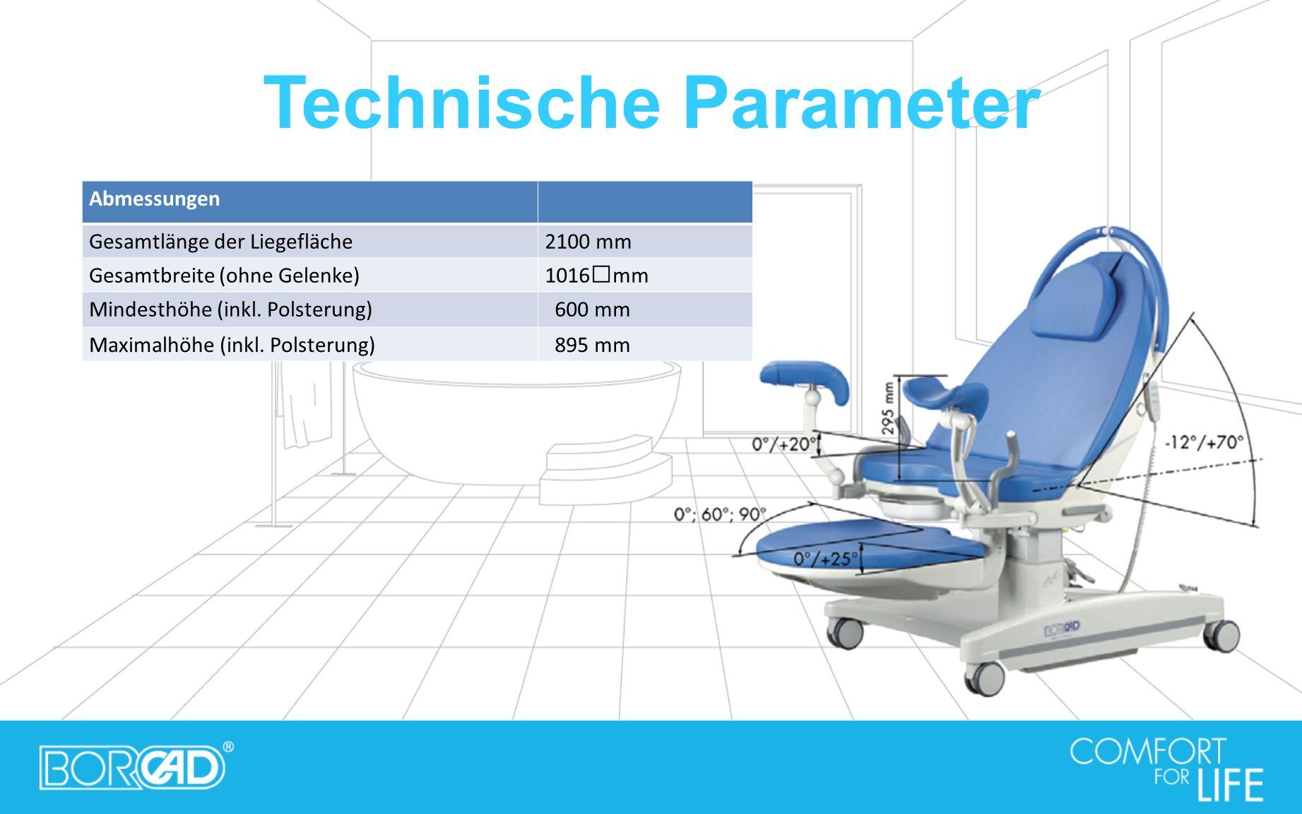 Technische Parameter Abmessungen Gesamtlänge der Liegefläche2100 mm Gesamtbreite (ohne Gelenke)1016mm Mindesthöhe (inkl. Polsterung) 600 mm Maximalhöh