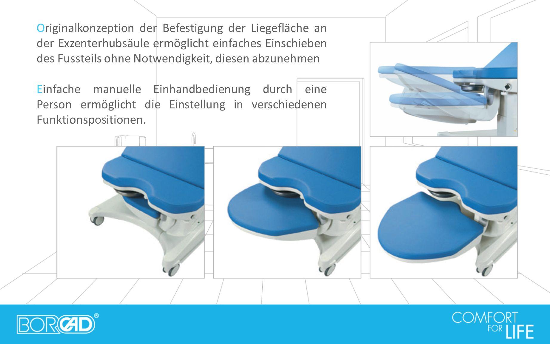 Originalkonzeption der Befestigung der Liegefläche an der Exzenterhubsäule ermöglicht einfaches Einschieben des Fussteils ohne Notwendigkeit, diesen a