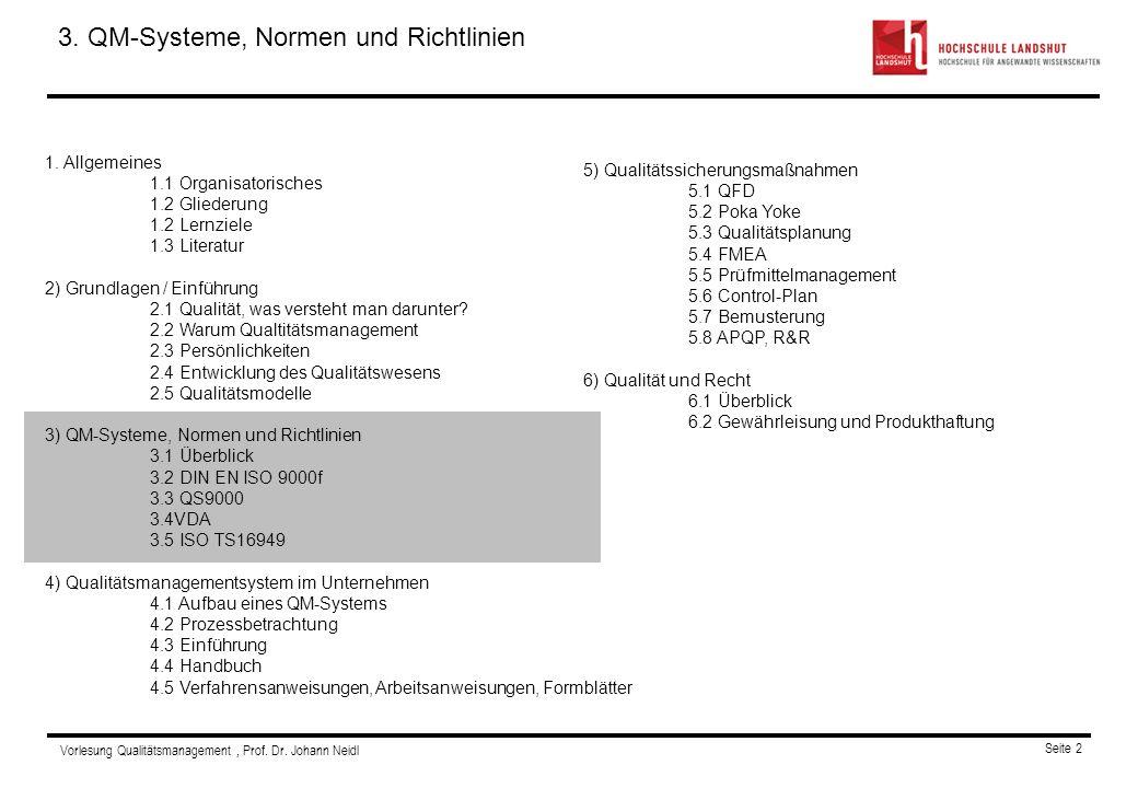 Vorlesung Qualitätsmanagement, Prof.Dr. Johann Neidl Seite 2 Gliederung 1.