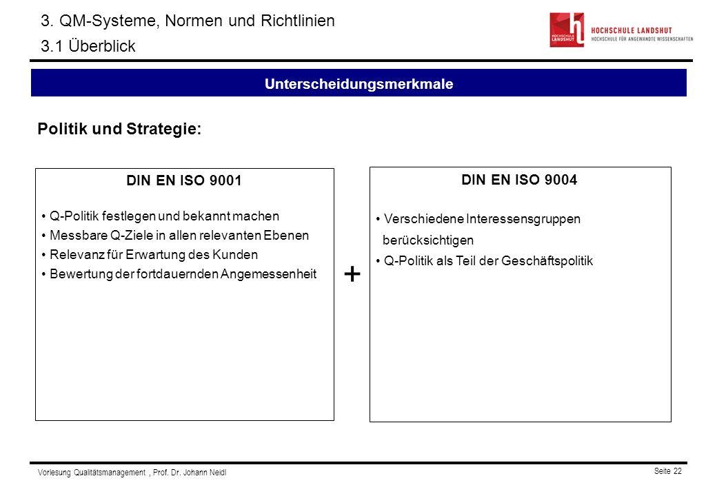 Vorlesung Qualitätsmanagement, Prof.Dr. Johann Neidl Seite 22 3.