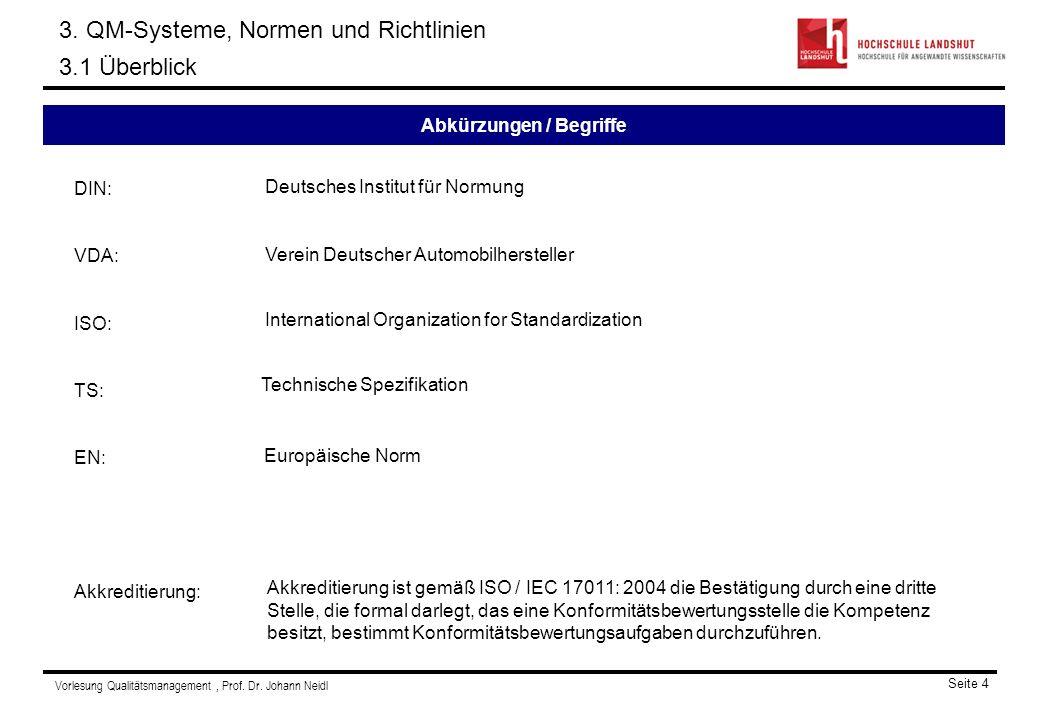 Vorlesung Qualitätsmanagement, Prof.Dr. Johann Neidl Seite 4 Abkürzungen / Begriffe 3.