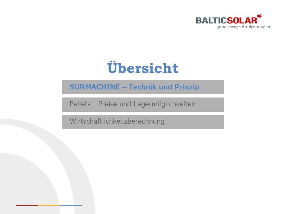 Übersicht SUNMACHINE – Technik und Prinzip Pellets – Preise und Lagermöglichkeiten Wirtschaftlichkeitsberechnung