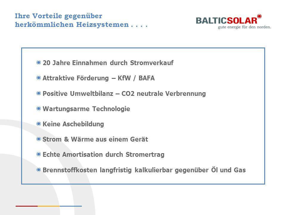 Ihre Vorteile gegenüber herkömmlichen Heizsystemen.... 20 Jahre Einnahmen durch Stromverkauf Attraktive Förderung – KfW / BAFA Positive Umweltbilanz –