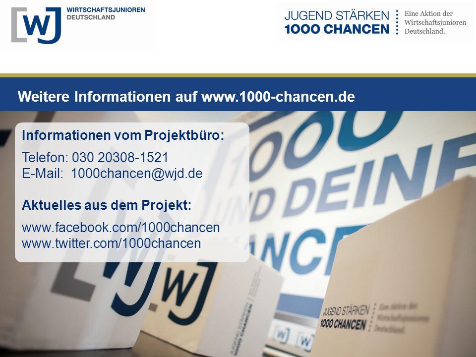 Weitere Informationen auf www.1000-chancen.de gefördert vom Informationen vom Projektbüro: Telefon: 030 20308-1521 E-Mail: 1000chancen@wjd.de Aktuelles aus dem Projekt: www.facebook.com/1000chancen www.twitter.com/1000chancen