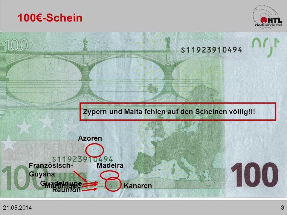 421.05.2014 100-Schein Euro-Bargeld seit 01.01.2002 Banknoten basieren auf Entwürfe nach Robert Kalina (Ö) Jeder Schein zeigt eine Epoche, der europäischen Kulturgeschichte bzw.