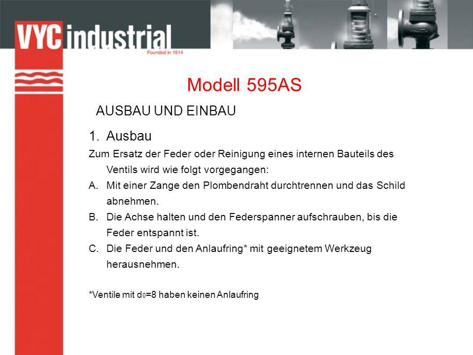 Modell 595AS 1.Ausbau Zum Ersatz der Feder oder Reinigung eines internen Bauteils des Ventils wird wie folgt vorgegangen: A.Mit einer Zange den Plombendraht durchtrennen und das Schild abnehmen.