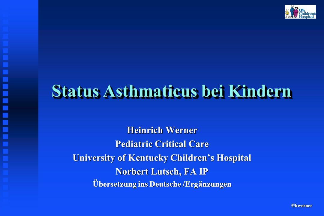 Status Asthmaticus Irritierte und beschädigte Atemwege Hypersekretion Epithelschaden mit freiliegenden Nervenenden Hypertrophie von Becherzellen und Schleimdrüsen : Pathophysiologie