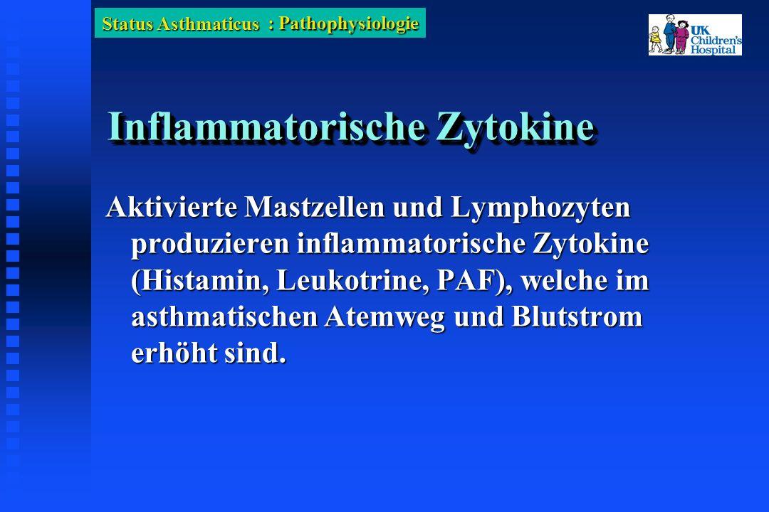 Status Asthmaticus Inflammatorische Zytokine Aktivierte Mastzellen und Lymphozyten produzieren inflammatorische Zytokine (Histamin, Leukotrine, PAF), welche im asthmatischen Atemweg und Blutstrom erhöht sind.