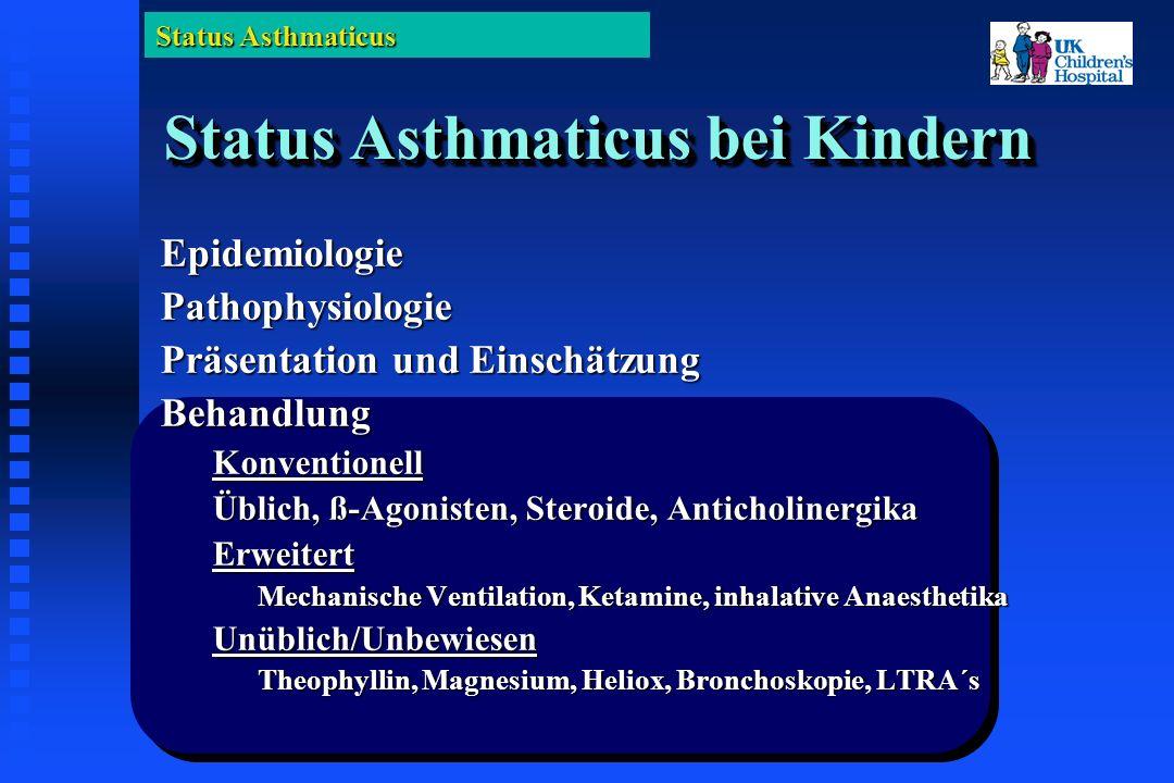 Status Asthmaticus Status Asthmaticus bei Kindern EpidemiologiePathophysiologie Präsentation und Einschätzung BehandlungKonventionell Üblich, ß-Agonisten, Steroide, Anticholinergika Erweitert Mechanische Ventilation, Ketamine, inhalative Anaesthetika Unüblich/Unbewiesen Theophyllin, Magnesium, Heliox, Bronchoskopie, LTRA´s