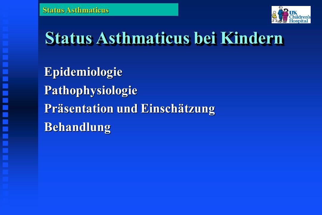 Status Asthmaticus AnticholinergikaAnticholinergika Unter zusätzlicher Gabe von Ipratropium (Atrovent) zu ß-Agonisten (Bricanyl/Ventolin) kann eine signifikant grössere Veräderung der FEV 1 beobachtet werden (199 Erwachsene) Rebuck AS: Am J Med 1987;82:59 Sehr signifikante Verbesserung der pulmonalen Funktion wenn Ipratropium (Atrovent) mit Albuterol (Ventolin) kombiniert wird (128 Kinder).
