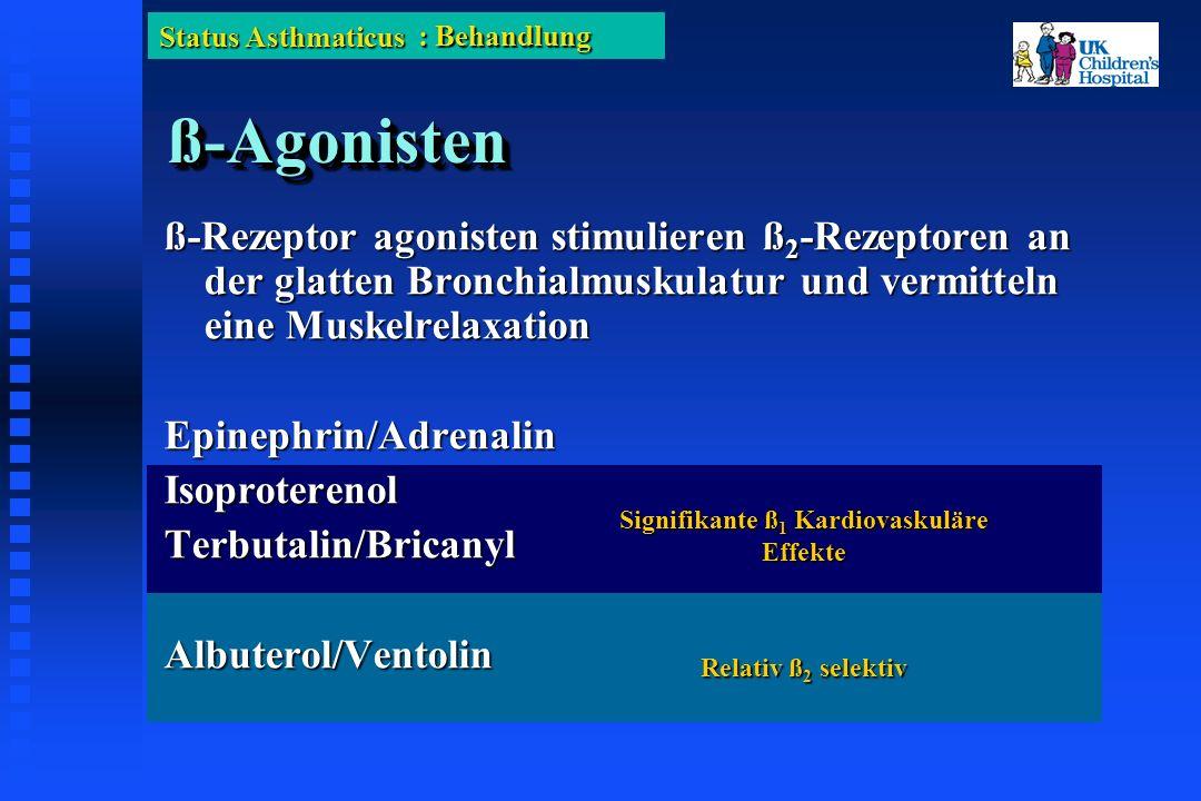 Status Asthmaticus ß-Agonistenß-Agonisten ß-Rezeptor agonisten stimulieren ß 2 -Rezeptoren an der glatten Bronchialmuskulatur und vermitteln eine Muskelrelaxation Epinephrin/AdrenalinIsoproterenolTerbutalin/BricanylAlbuterol/Ventolin Relativ ß 2 selektiv Signifikante ß 1 Kardiovaskuläre Effekte : Behandlung