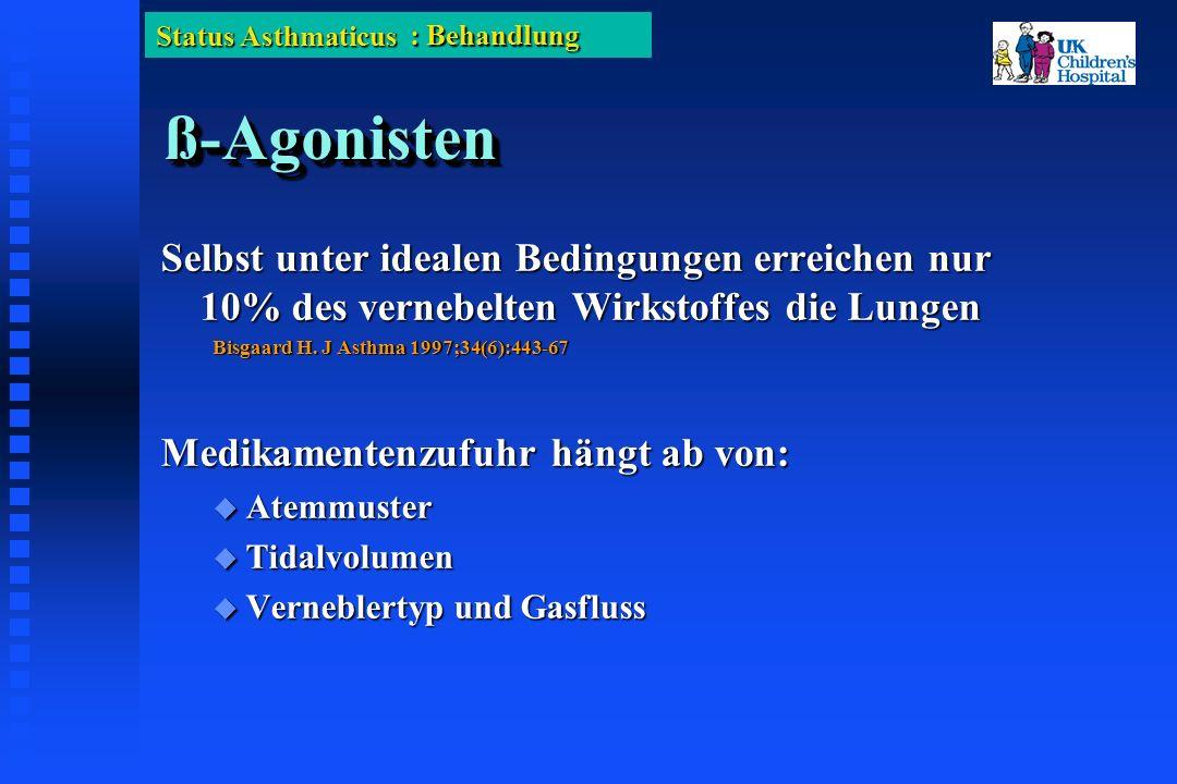 Status Asthmaticus ß-Agonistenß-Agonisten Selbst unter idealen Bedingungen erreichen nur 10% des vernebelten Wirkstoffes die Lungen Bisgaard H.