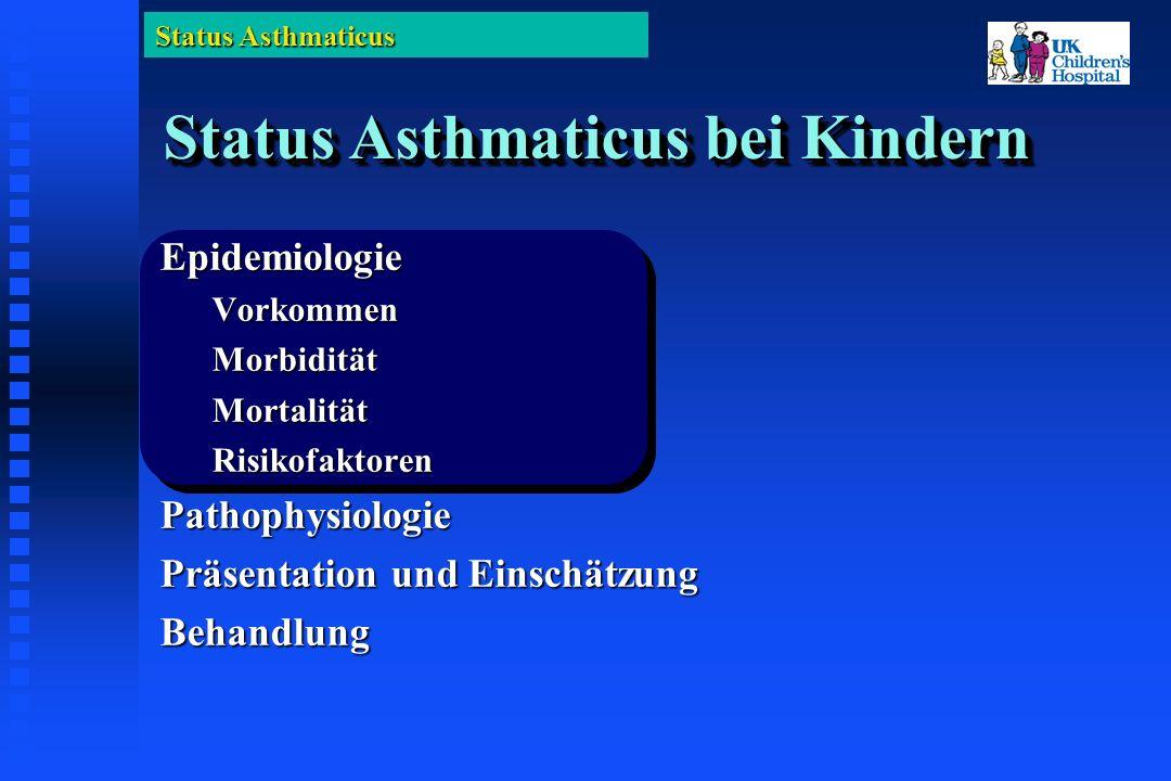 Status Asthmaticus Klinischer Asthma Score 0 1 2 0 1 2 Zyanose oderKeineMit AirMit 40% PaO 2 >70 mit Air 70 mit Air< 70 mit Air< 70 mit 40% Inspir.