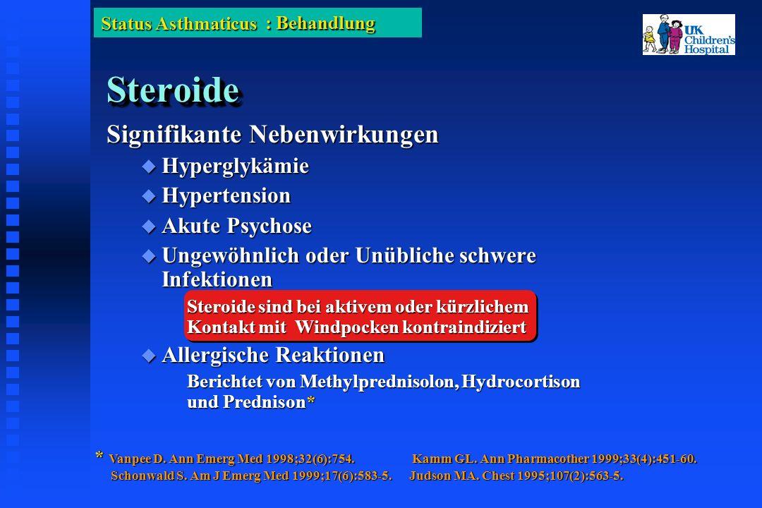 Status Asthmaticus SteroideSteroide Signifikante Nebenwirkungen Hyperglykämie Hyperglykämie Hypertension Hypertension Akute Psychose Akute Psychose Ungewöhnlich oder Unübliche schwere Infektionen Ungewöhnlich oder Unübliche schwere Infektionen Steroide sind bei aktivem oder kürzlichem Kontakt mit Windpocken kontraindiziert Allergische Reaktionen Allergische Reaktionen Berichtet von Methylprednisolon, Hydrocortison und Prednison* * Vanpee D.