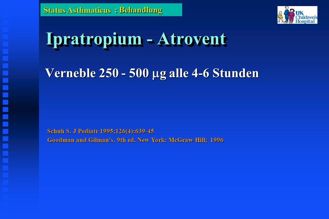 Status Asthmaticus Ipratropium - Atrovent Verneble 250 - 500 g alle 4-6 Stunden : Behandlung Schuh S.