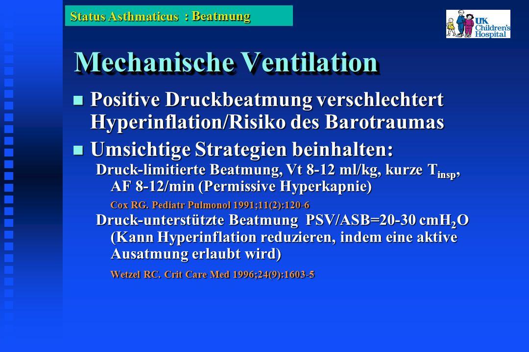 Status Asthmaticus Mechanische Ventilation Positive Druckbeatmung verschlechtert Hyperinflation/Risiko des Barotraumas Positive Druckbeatmung verschlechtert Hyperinflation/Risiko des Barotraumas Umsichtige Strategien beinhalten: Umsichtige Strategien beinhalten: Druck-limitierte Beatmung, Vt 8-12 ml/kg, kurze T insp, AF 8-12/min (Permissive Hyperkapnie) Cox RG.