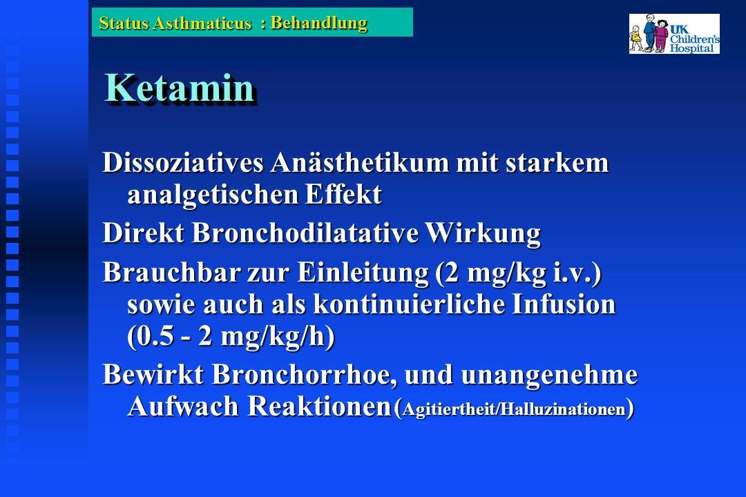 Status Asthmaticus KetaminKetamin Dissoziatives Anästhetikum mit starkem analgetischen Effekt Direkt Bronchodilatative Wirkung Brauchbar zur Einleitung (2 mg/kg i.v.) sowie auch als kontinuierliche Infusion (0.5 - 2 mg/kg/h) Bewirkt Bronchorrhoe, und unangenehme Aufwach Reaktionen : Behandlung ( Agitiertheit/Halluzinationen )