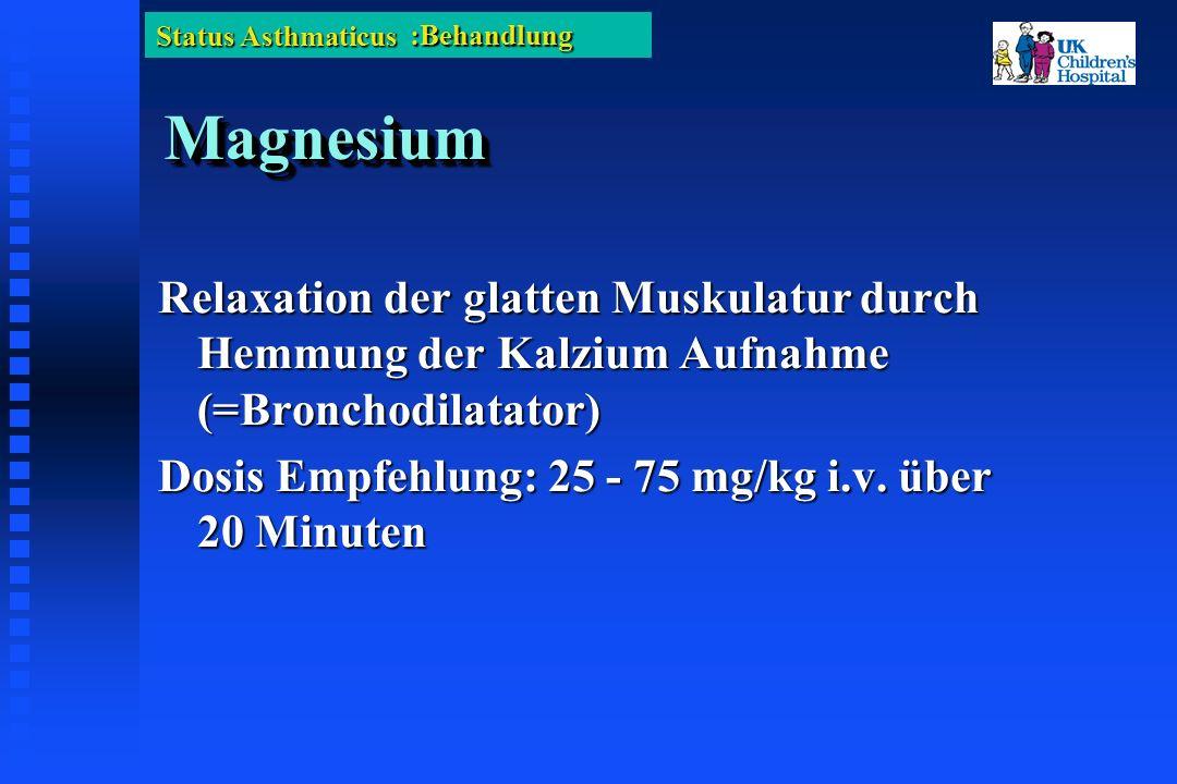 Status Asthmaticus MagnesiumMagnesium Relaxation der glatten Muskulatur durch Hemmung der Kalzium Aufnahme (=Bronchodilatator) Dosis Empfehlung: 25 - 75 mg/kg i.v.