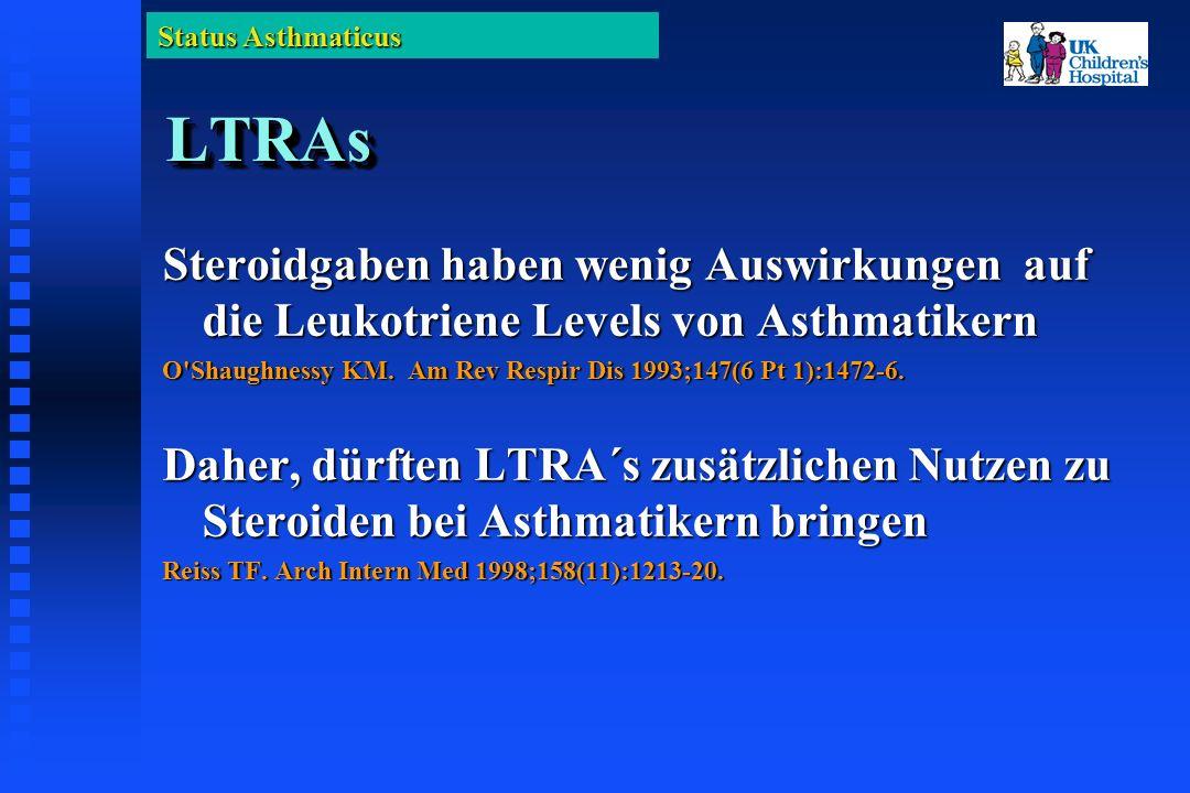 Status Asthmaticus LTRAsLTRAs Steroidgaben haben wenig Auswirkungen auf die Leukotriene Levels von Asthmatikern O Shaughnessy KM.