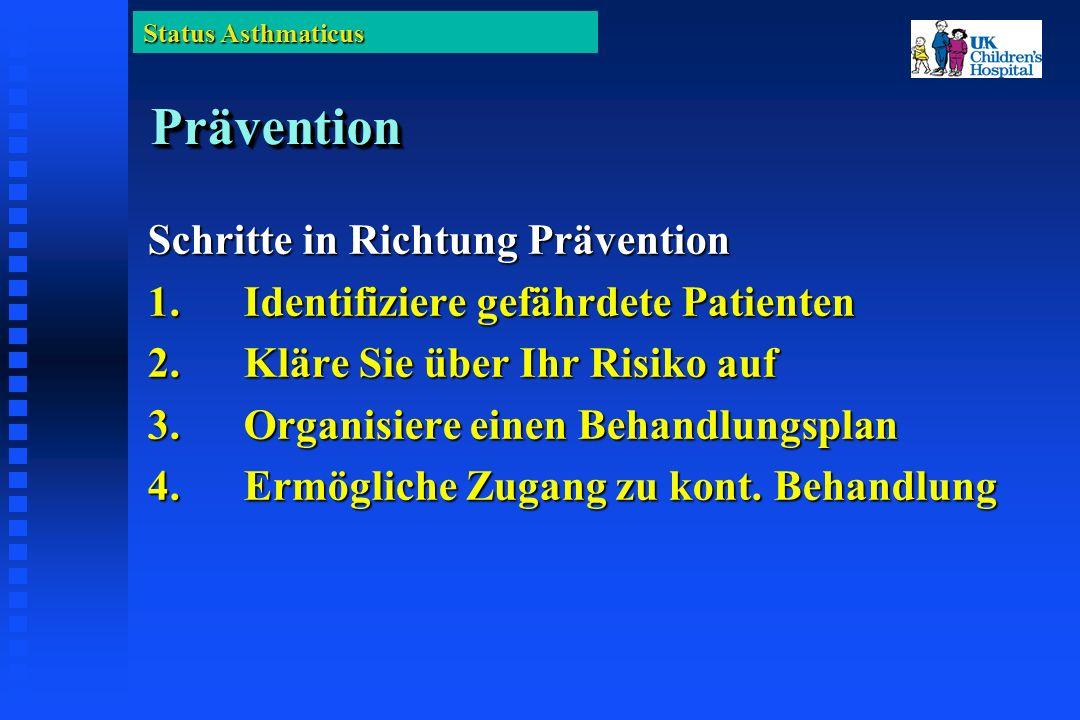 Status Asthmaticus PräventionPrävention Schritte in Richtung Prävention 1.Identifiziere gefährdete Patienten 2.Kläre Sie über Ihr Risiko auf 3.Organisiere einen Behandlungsplan 4.Ermögliche Zugang zu kont.