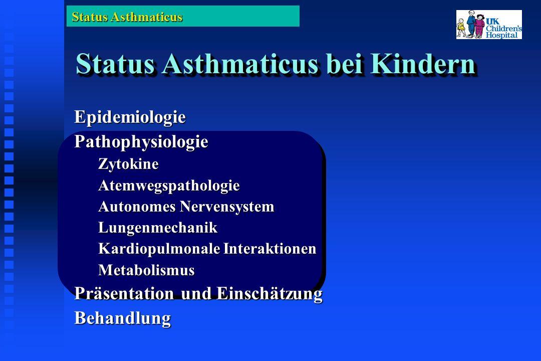 Status Asthmaticus Status Asthmaticus bei Kindern EpidemiologiePathophysiologieZytokineAtemwegspathologie Autonomes Nervensystem Lungenmechanik Kardiopulmonale Interaktionen Metabolismus Präsentation und Einschätzung Behandlung