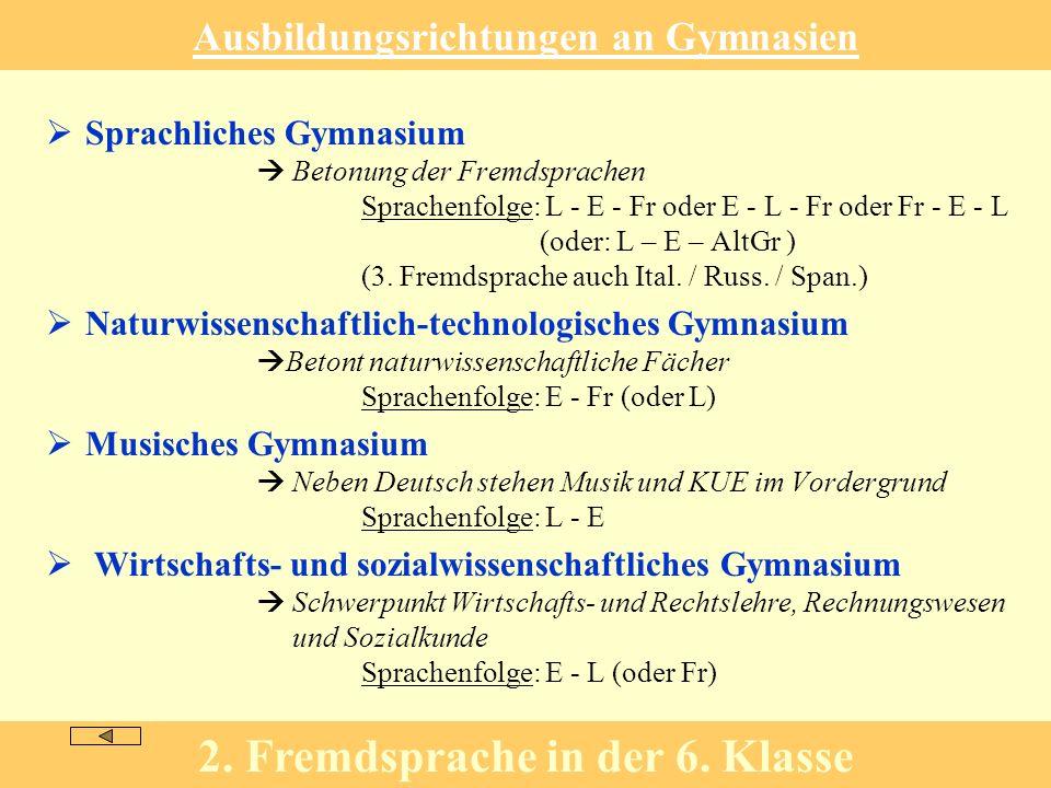 Ausbildungsrichtungen an Gymnasien Sprachliches Gymnasium Betonung der Fremdsprachen Sprachenfolge: L - E - Fr oder E - L - Fr oder Fr - E - L (oder: