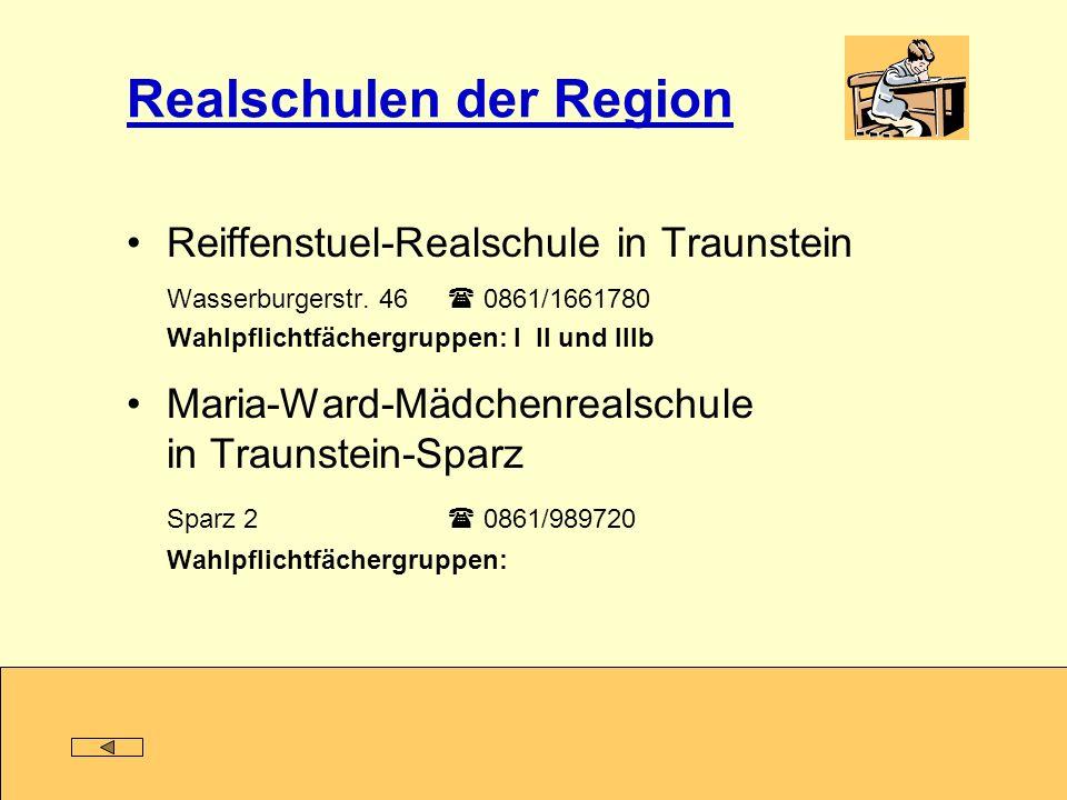 Realschulen der Region Reiffenstuel-Realschule in Traunstein Wasserburgerstr. 46 0861/1661780 Wahlpflichtfächergruppen: I II und IIIb Maria-Ward-Mädch