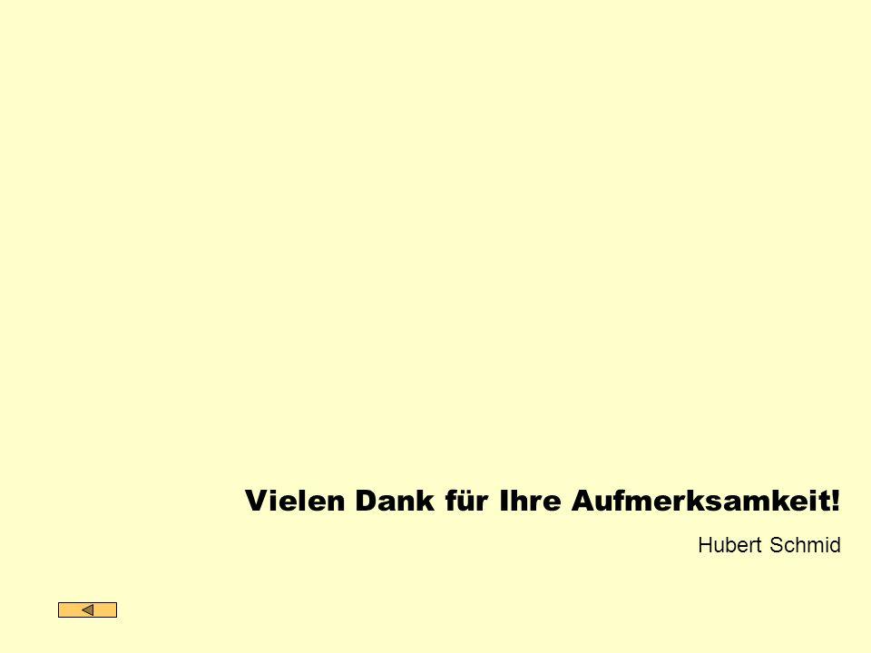 Vielen Dank für Ihre Aufmerksamkeit! Hubert Schmid