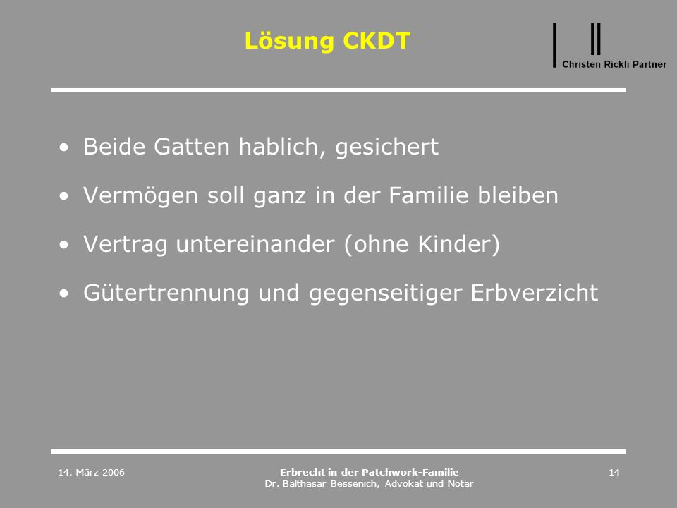 14. März 2006Erbrecht in der Patchwork-Familie Dr. Balthasar Bessenich, Advokat und Notar 14 Lösung CKDT Beide Gatten hablich, gesichert Vermögen soll