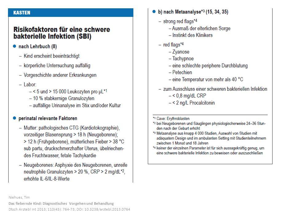 Niehues, Tim Das fiebernde Kind: Diagnostisches Vorgehen und Behandlung Dtsch Arztebl Int 2013; 110(45): 764-73; DOI: 10.3238/arztebl.2013.0764
