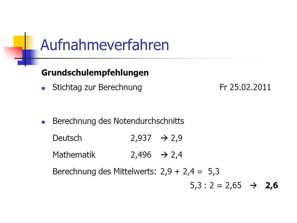 Aufnahmeverfahren Grundschulempfehlungen Stichtag zur BerechnungFr 25.02.2011 Berechnung des Notendurchschnitts Deutsch 2,937 2,9 Mathematik2,496 2,4