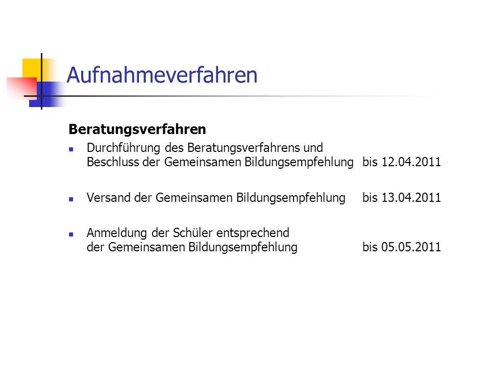 Aufnahmeverfahren Beratungsverfahren Durchführung des Beratungsverfahrens und Beschluss der Gemeinsamen Bildungsempfehlungbis 12.04.2011 Versand der G