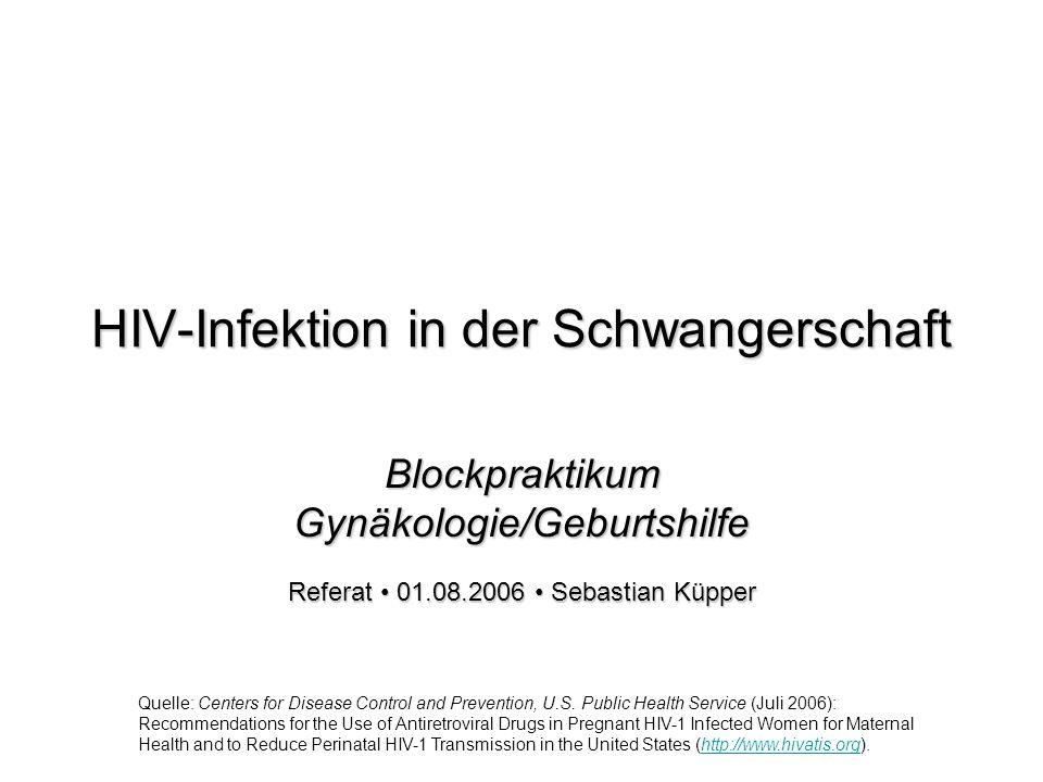 HIV-Infektion in der Schwangerschaft Blockpraktikum Gynäkologie/Geburtshilfe Referat 01.08.2006 Sebastian Küpper Quelle: Centers for Disease Control and Prevention, U.S.