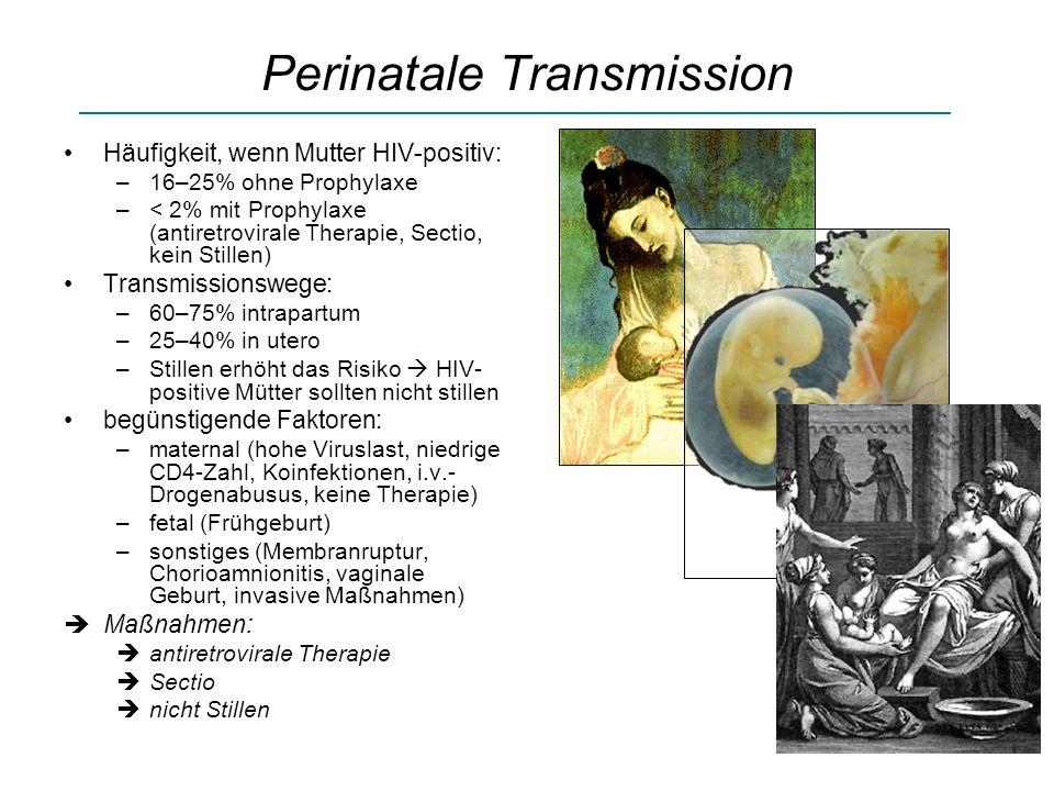 Perinatale Transmission Häufigkeit, wenn Mutter HIV-positiv: –16–25% ohne Prophylaxe –< 2% mit Prophylaxe (antiretrovirale Therapie, Sectio, kein Stillen) Transmissionswege: –60–75% intrapartum –25–40% in utero –Stillen erhöht das Risiko HIV- positive Mütter sollten nicht stillen begünstigende Faktoren: –maternal (hohe Viruslast, niedrige CD4-Zahl, Koinfektionen, i.v.- Drogenabusus, keine Therapie) –fetal (Frühgeburt) –sonstiges (Membranruptur, Chorioamnionitis, vaginale Geburt, invasive Maßnahmen) Maßnahmen: antiretrovirale Therapie Sectio nicht Stillen